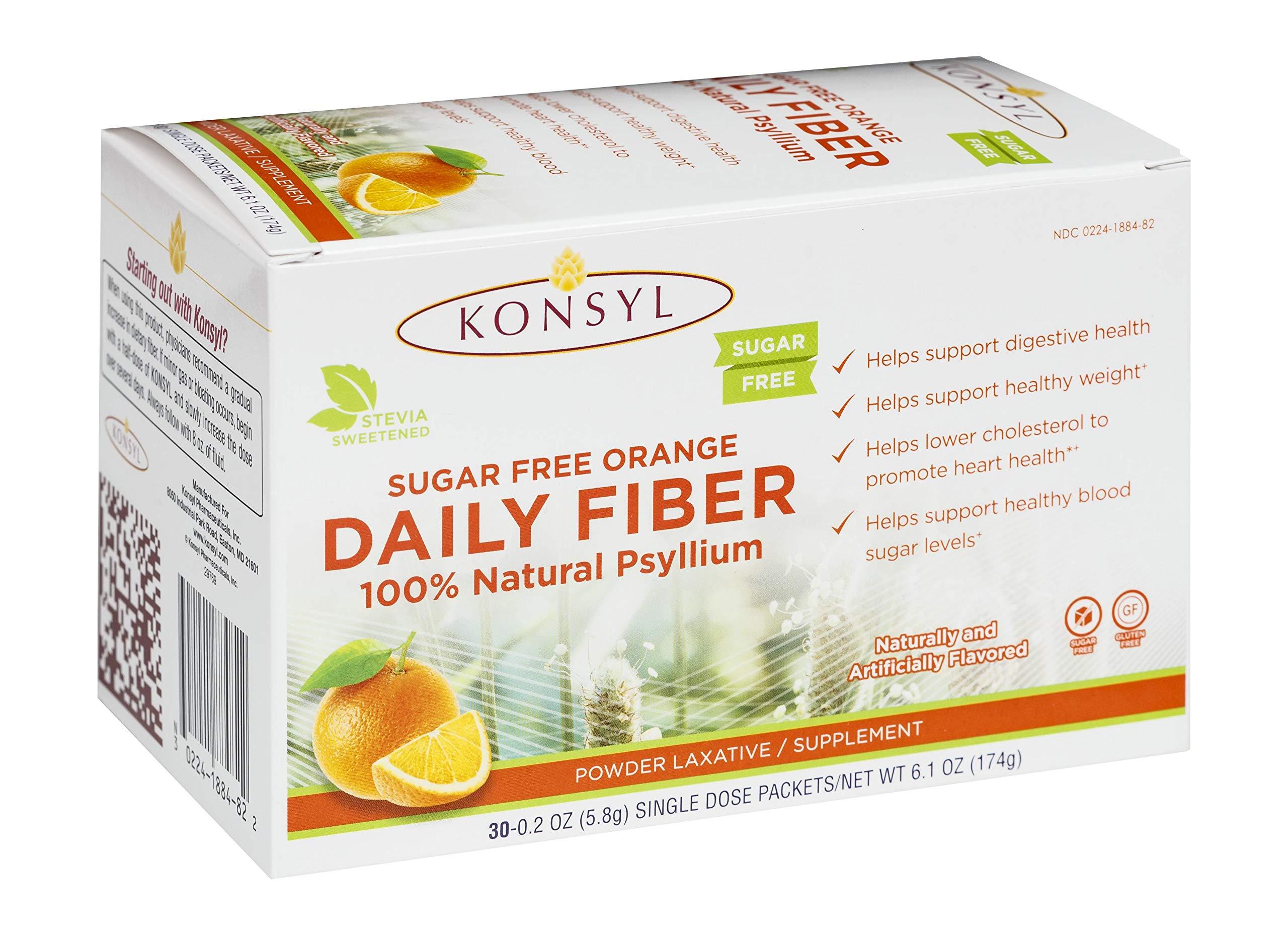 Konsyl Daily Fiber Orange 100% Natural Psyllium Husk Powder - Sugar Free and Gluten Free - 30 Individual Packets