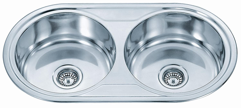 Kitchen Sinks Inset Double Round Bowl (P01) Polished Finish: Amazon ...