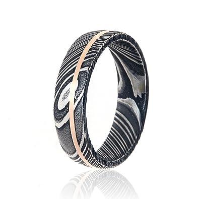 Damascus Steel Wedding Bands Usa Made 14k Rose Gold Rings Damascus