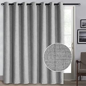 Rose Home Fashion 100% Blackout Curtains, Sliding Door Curtains for Living Room Linen Textured Patio Door Curtains Drapes Extra Wide Grommet Curtain Panel-1 Panel (100x84 Grey)