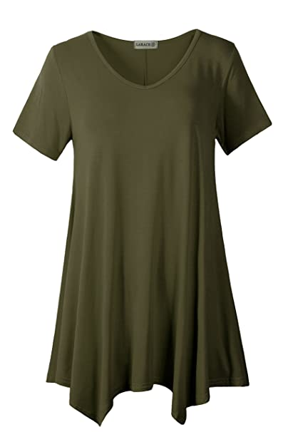 5c257c35c04 LARACE Women Casual T Shirt V-Neck Tunic Tops for Leggings at Amazon ...
