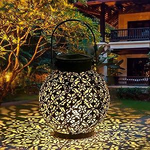 Solar Lantern Outdoor Light Hanging for Garden, Solar Powered Garden Lantern Dusk to Dawn Auto On/Off Waterproof Solar Pathway Lights for Farmhouse Patio Yard Decorative Atmosphere (A)