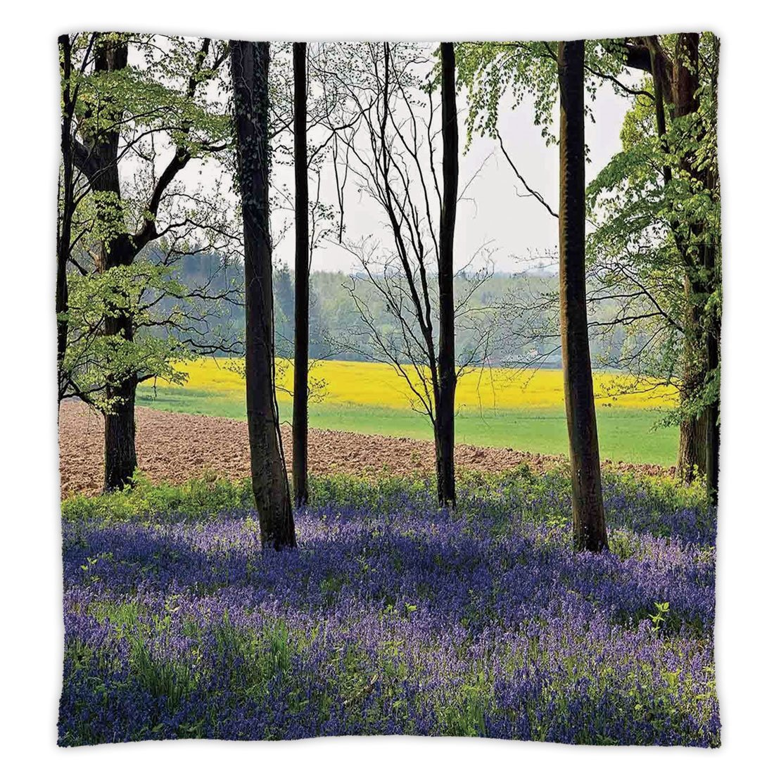 Super Soft Throw Blanket Custom Design Cozy Fleece Blanket,Woodland Decor,Bluebells in Wepham Woods Wildflowers Spring Rural Environment Photo Print,Purple Yellow Green,Perfect for Couch Sofa or Bed
