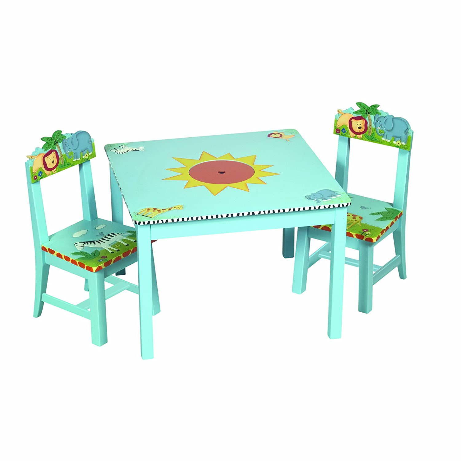 Amazon.com: Guidecraft Safari Collection Table And Chairs Set: Toys ...