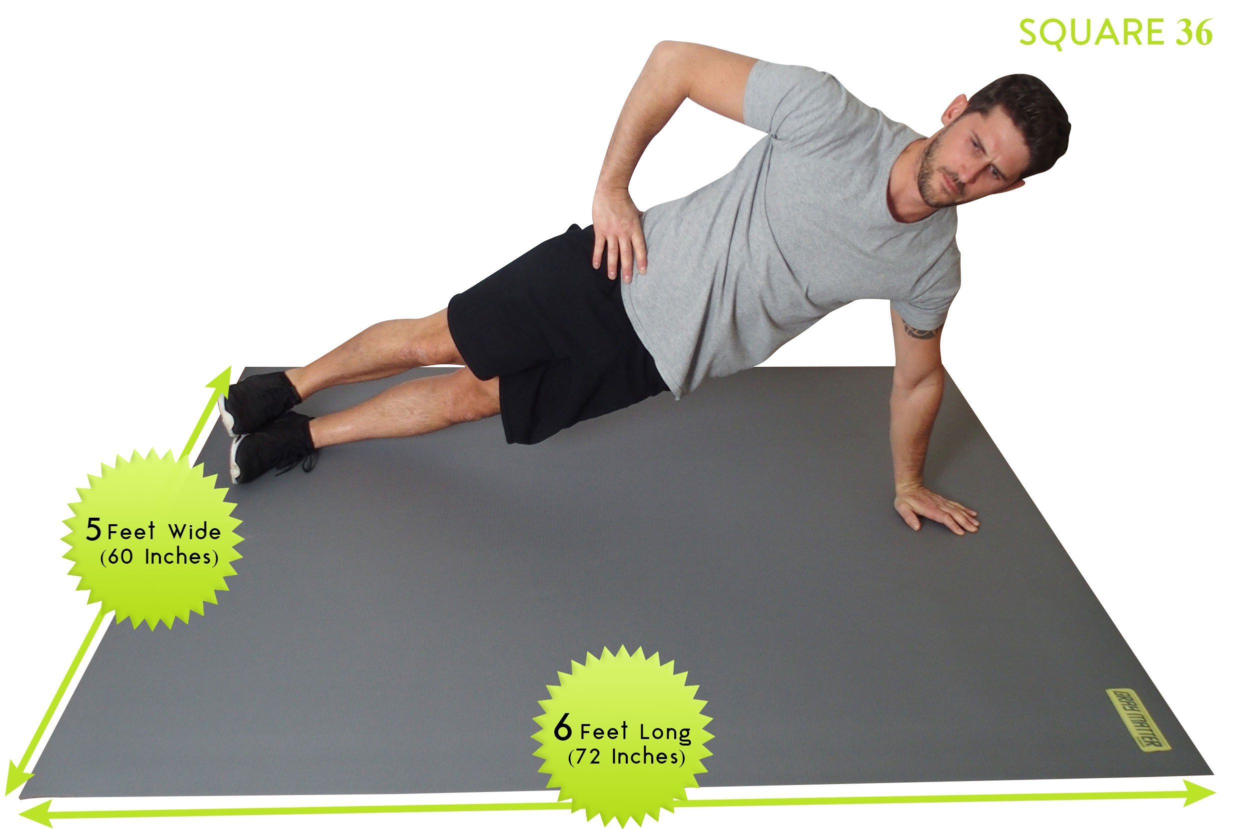 Large Exercise Mat For Cardio Workouts 72'' Long x 60'' Wide x 7mm Thick (6' x 5' x 7mm). For Home-Based Workouts With or Without SHOES. Comes With a Storage Bag & Storage Straps. by Square36 (Image #5)