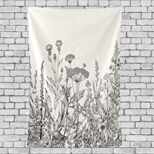 One Bear Herbs and Wild Flowers Botanical Vintage Tapestry Floral Border Vertical Wall Hanging Polyester Wall Art Tapestry Headboard Home Decor for Living Room Bedroom Black and White 60 X 80 Inch