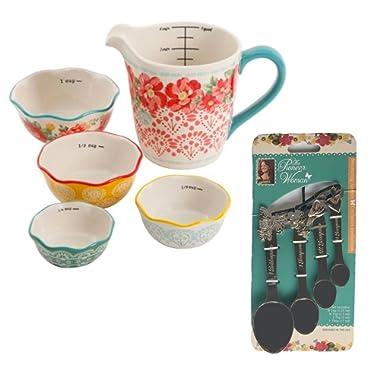 Pioneer Woman Measuring Cup and Spoon 9 Piece Kitchen Prep Set Bundle