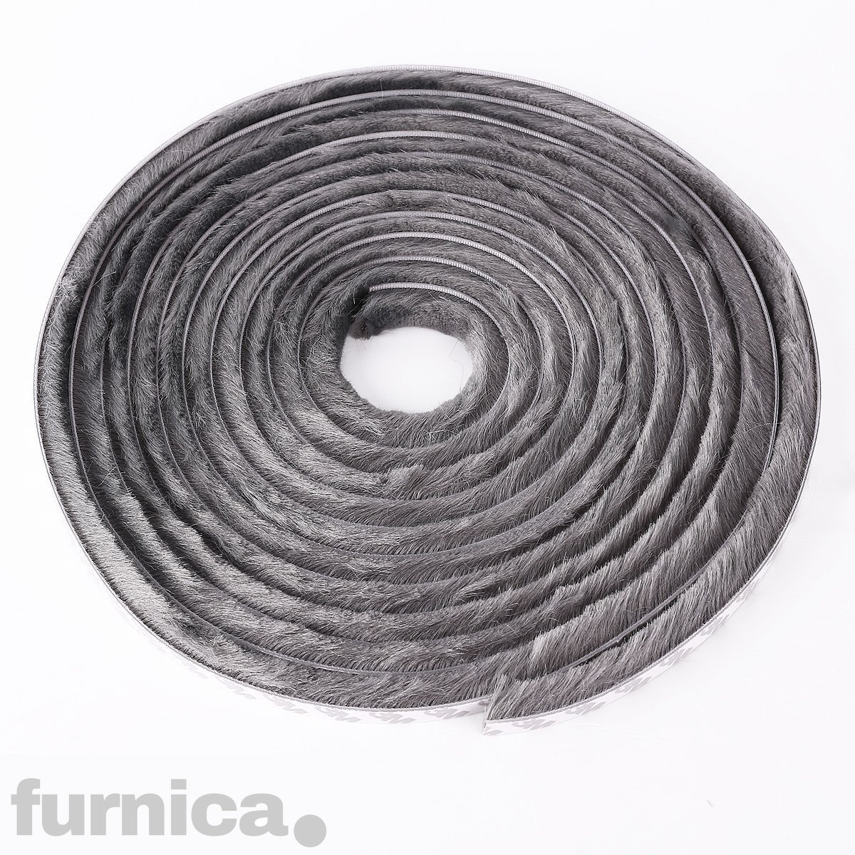 FURNICA Grey Self-Adhesive Brush for Windows/Doors Draught Excluder Strip (Height 9mm - 10m)