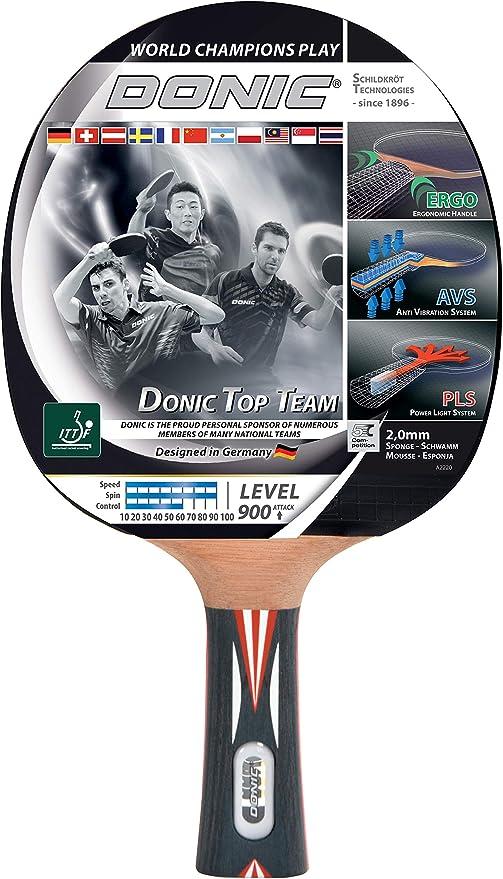 Donic-Schildkröt Raqueta de Tenis de Mesa Top Team 800, Mango AVS & PLS, Esponja de 2,0 mm, Almohadilla Alpha Slick-ITTF: Amazon.es: Deportes y aire libre