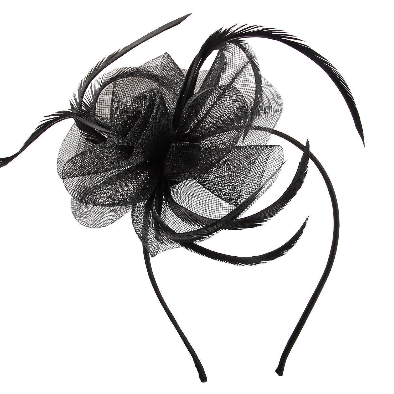 Acecharming Fascinators for Women, Feather Sinamay Fascinators with Headbands Tea Party Pillbox Hat Flower Derby Hats(Black)
