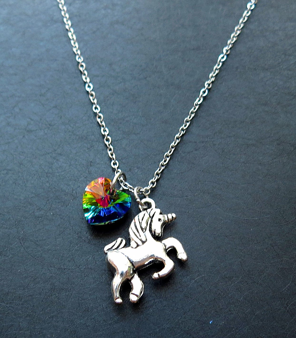 Girl Gift Unicorn Necklace with Rainbow Color Heart Crystal,Rainbow Unicorn Necklace,Fairy Tale Necklace, Fantasy Necklace, Animal Necklace 4