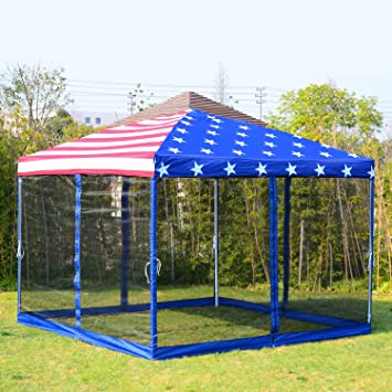 Outdoor Canopy Tent Square 10u0027 Gazebo Patio Shelter With Netting Side Walls American Flag & Amazon.com : Outdoor Canopy Tent Square 10u0027 Gazebo Patio Shelter ...