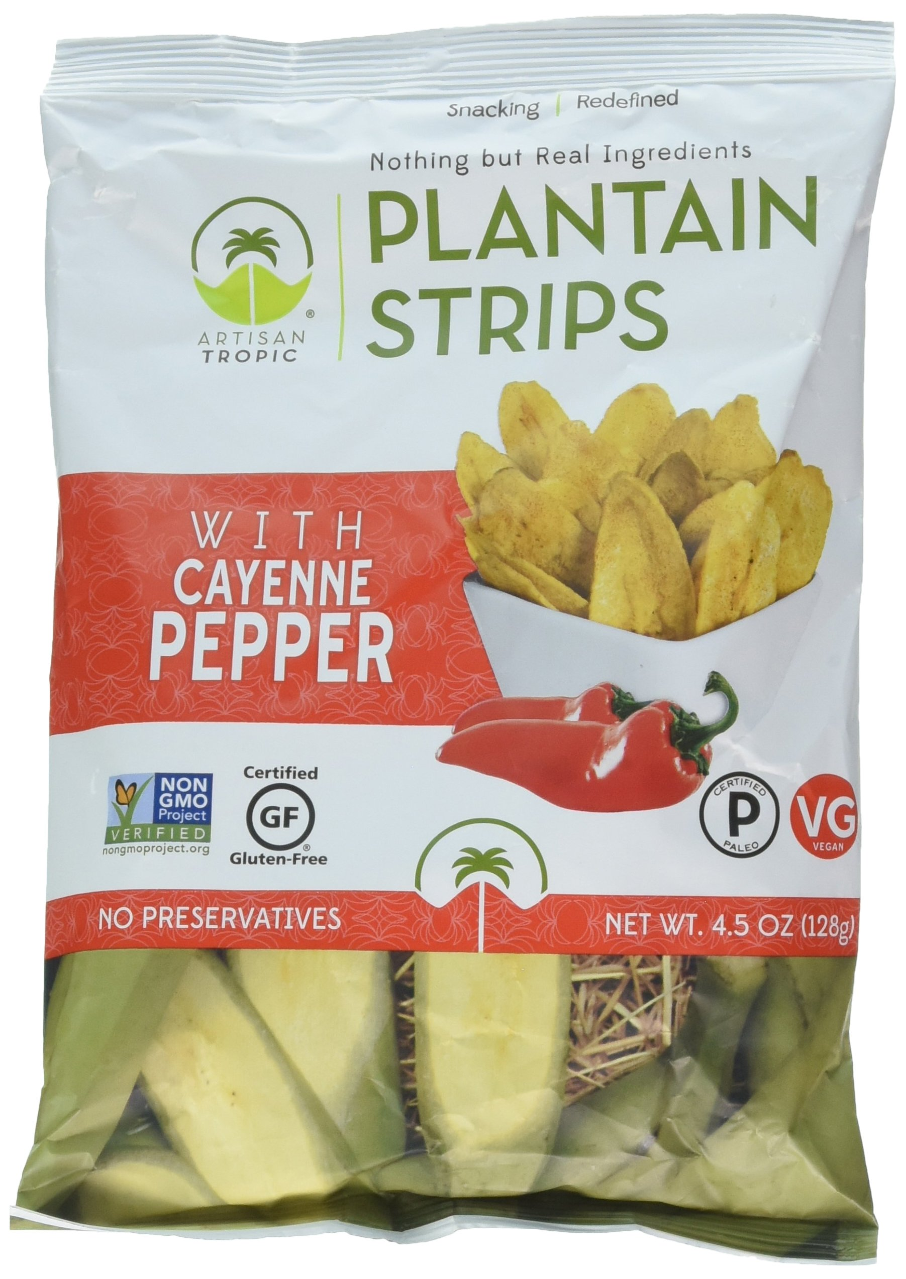 Artisan Tropic Plantain Strips with Cayenne Pepper, Cooked in Sustainable Palm Oil, Paleo Certified, 4.5 Oz, (2 Pack)