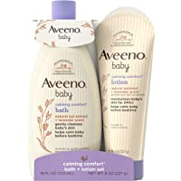 Aveeno Baby Calming Comfort Bath & Lotion Set with Natural Oat Extract, Lavender & Vanilla, 2 Items