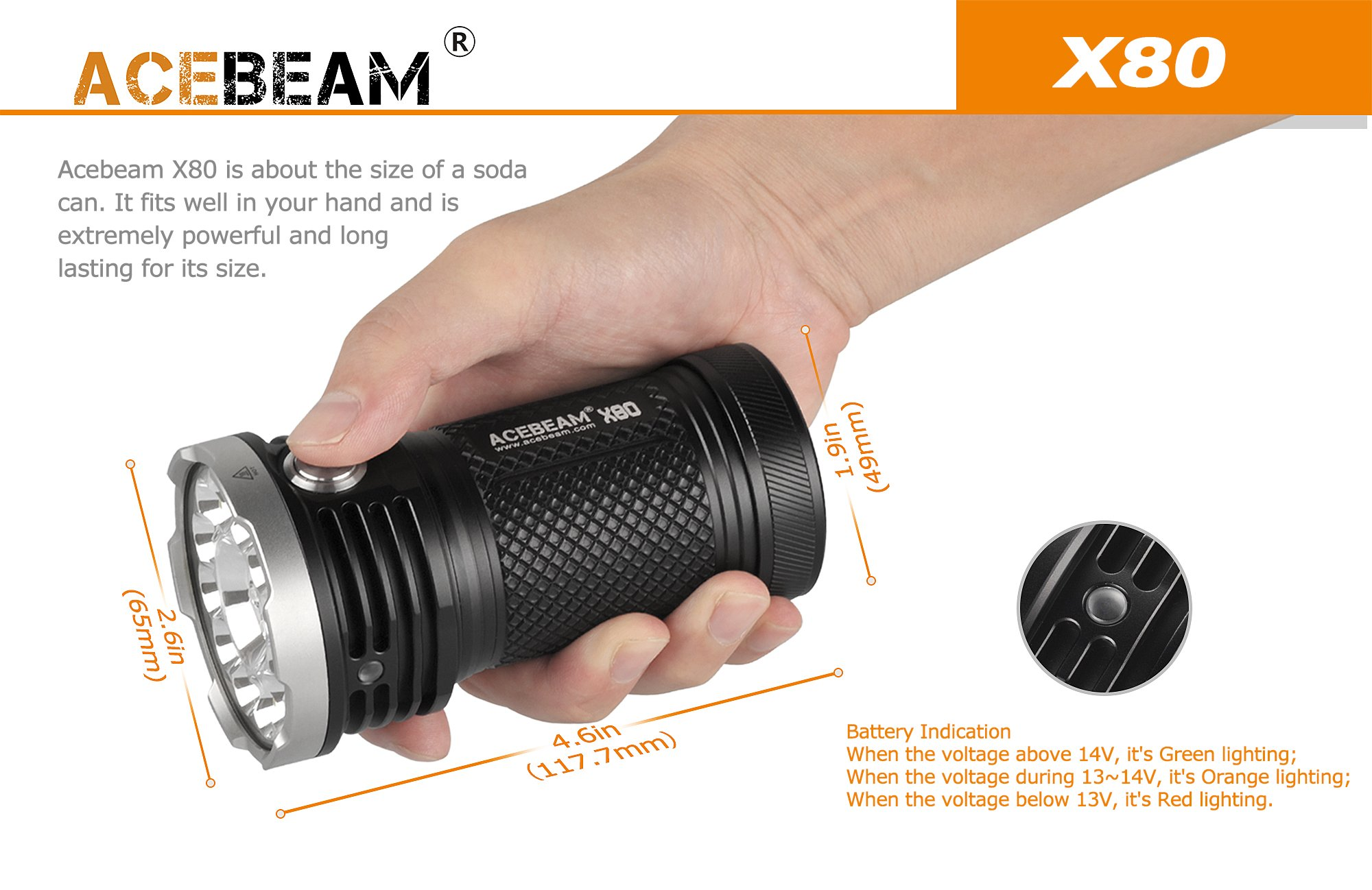 AceBeam X80 Flashlight 25000 Lumens 5-color Light Beam Flashlights Included Batteries by ACEBEAM (Image #3)