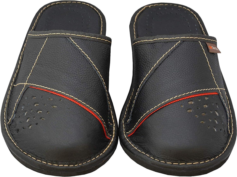 Pantoufles en Cuir v/éritable Noir Marron Rouge 40 41 42 43 44 45 46 BeComfy Pantoufles Hommes Cuir v/éritable