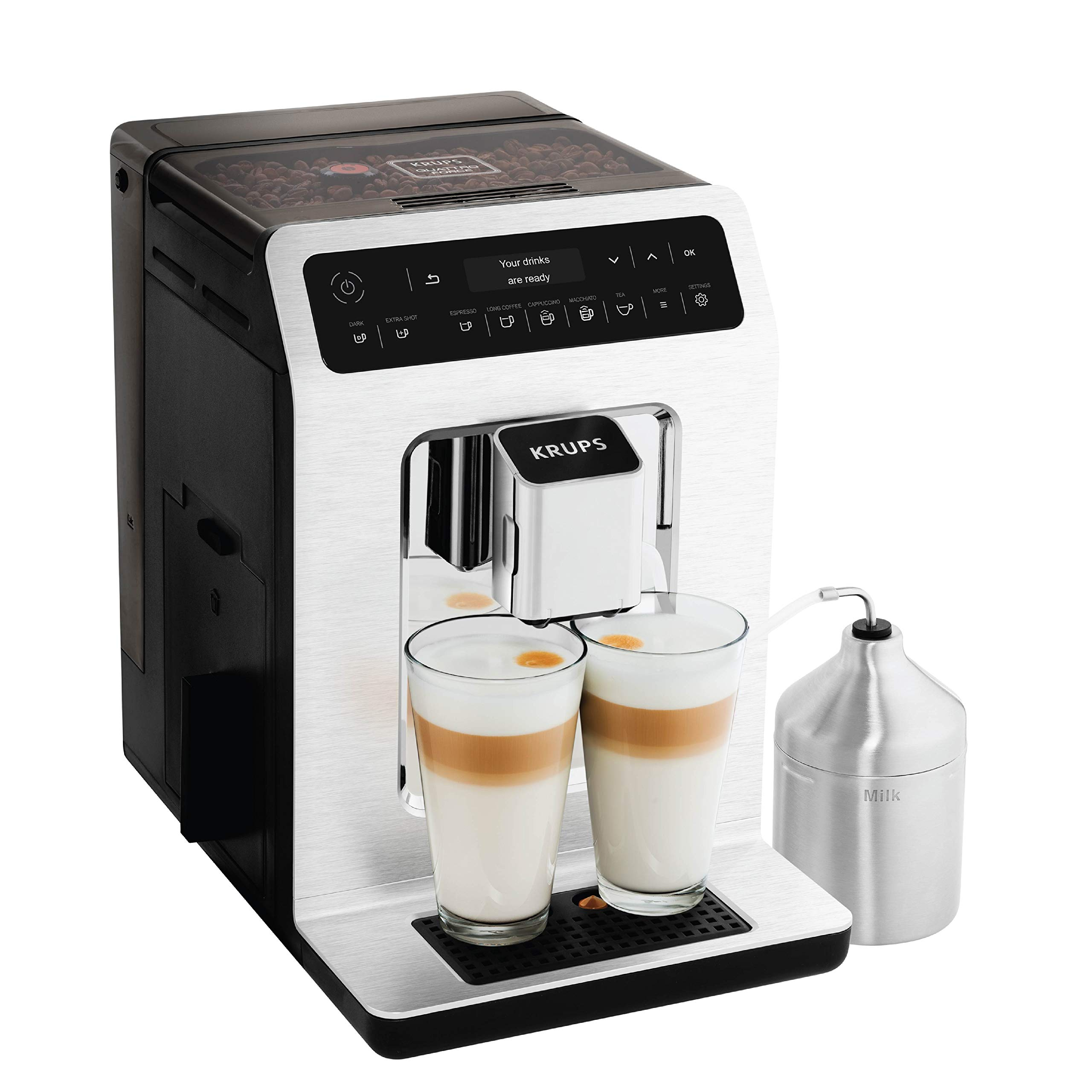KRUPS EA89 Deluxe One-Touch Super Automatic Espresso and Cappuccino Machine, 15 Fully Customizable Drinks,Gray by KRUPS