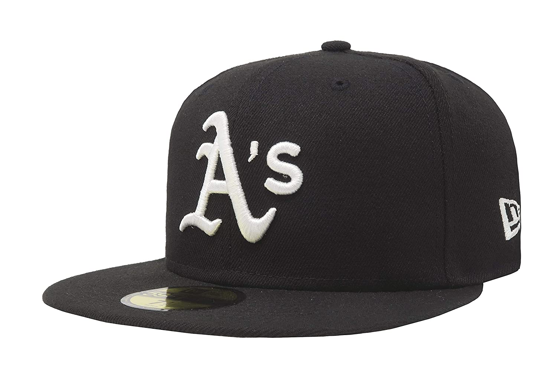 New Era 59Fifty Hat MLB Basic Oakland Athletics Black / White Fitted Baseball Cap (7)