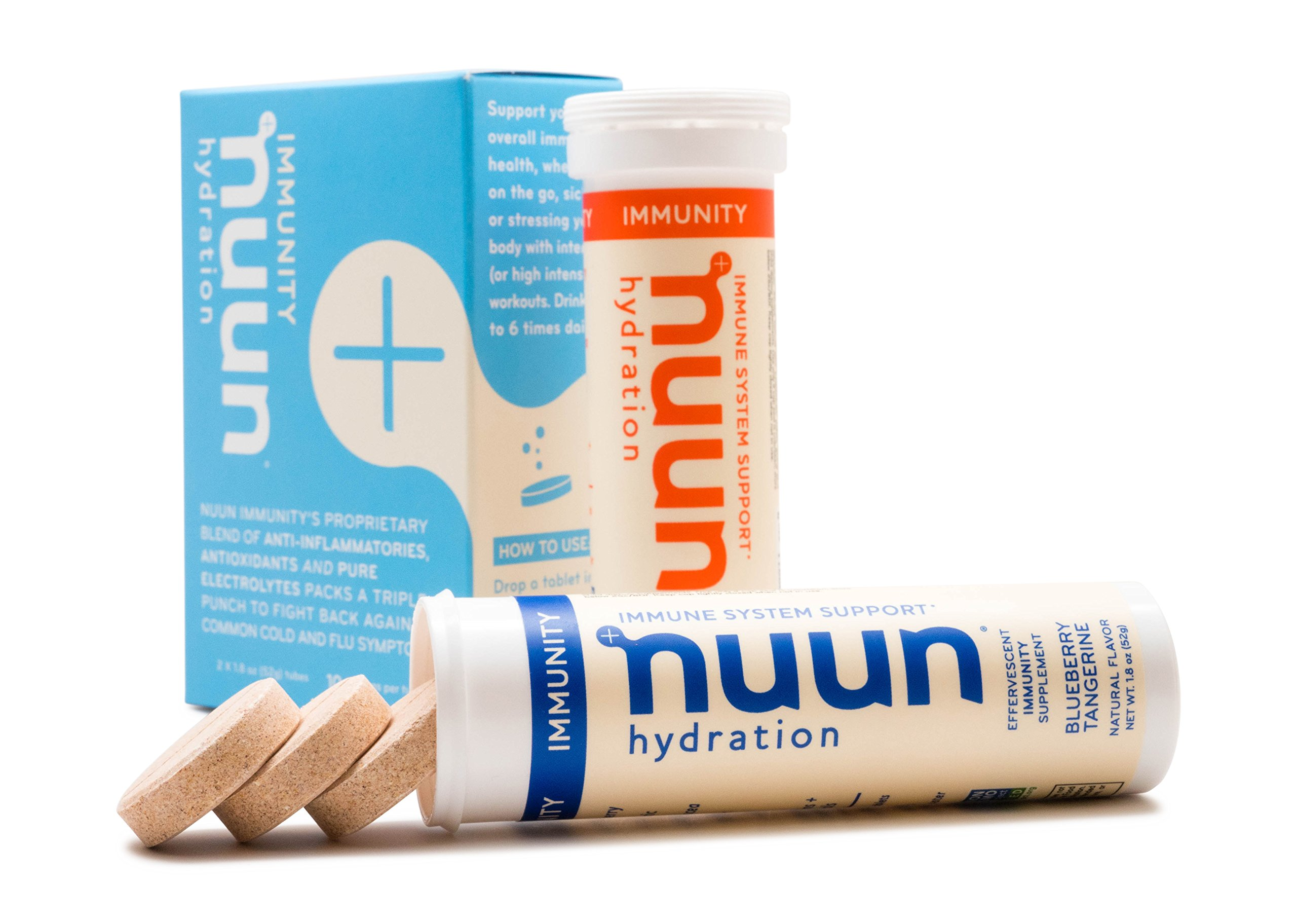 Nuun Immunity: Zinc, Turmeric, Elderberry, Ginger, Echinacea, and Electrolytes for an Anti-Inflammatory and Antioxidant Boost in Immune Support, Blueberry Tangerine/Orange Citrus Mixed 2-Pack
