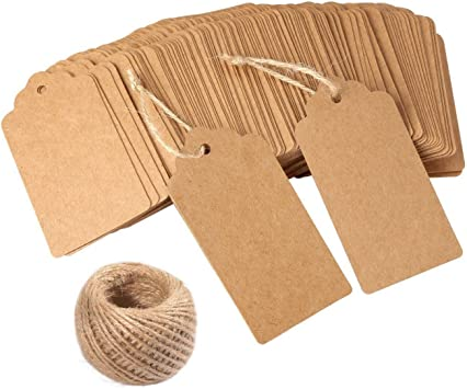 100pcs Blank Kraft Paper Gift Favor Tags Baby Shower Clothes Label Luggage Card