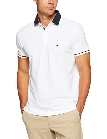 46b00cb9 TOMMY HILFIGER Men's 1985 Polo T-Shirt with Sleeve Tipping and Navy Collar,  Bright