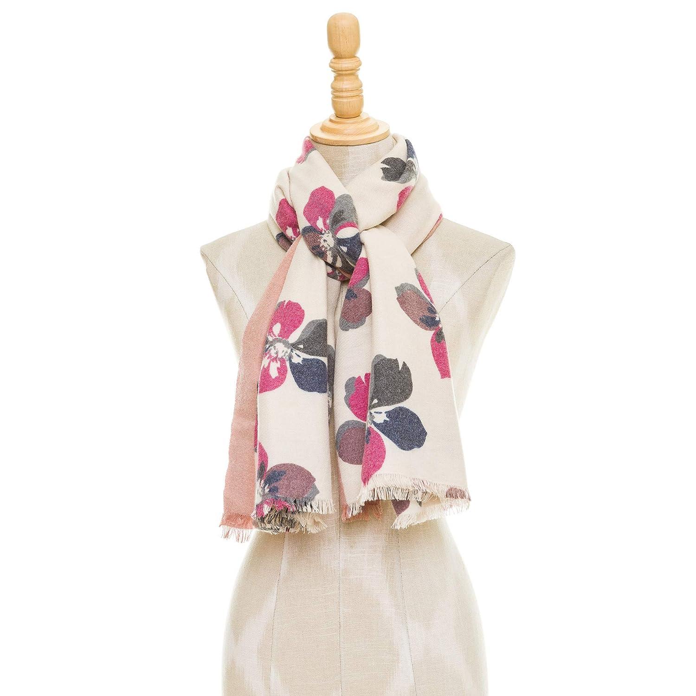 MELIFLUOS DESIGNED IN SPAIN Sciarpa Collo Sciarpa Donna Viscosa Fiori Inverno Morbido Elegante