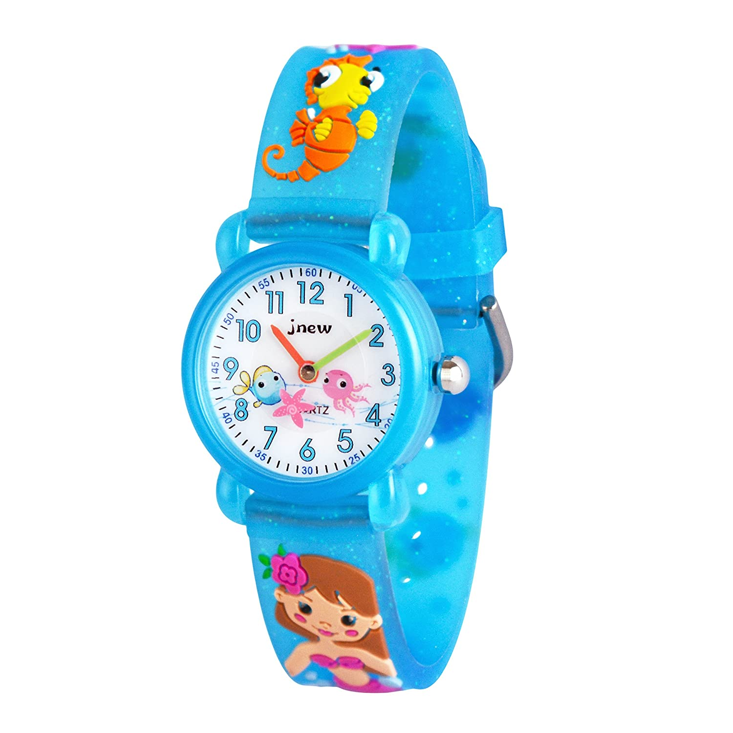 WOLFTEETHアナログ幼児Girls School Day Wrist Watch with Second Hand Cute Small面ラウンドダイヤル防水Little Girls Watch 3066 Sea Horse Band Blue B077MXF54K Sea Horse Band Blue Sea Horse Band Blue