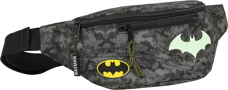 Riñonera con Bolsillo Exterior de Batman Night, 230x90x120mm, Gris/Negro