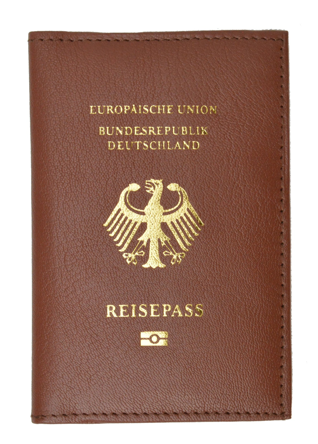 Genuine Leather Passport Wallet, Cover, Holder with German Emblem for International Travel (Burgundy)
