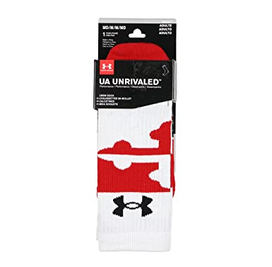 Under Armour Mens Unrivaled Maryland Crew Socks Medium (4-8.5) White Red