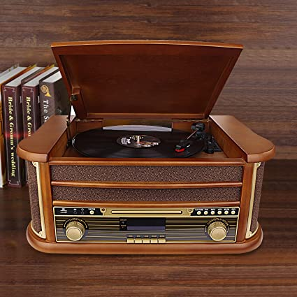 7-in-1 Bluetooth Record player with Built-in Stereo Speakers,Vinyl Player  Turntable Vintage Wood PLL FM Vinyl Recording Player CD Cassette USB Play