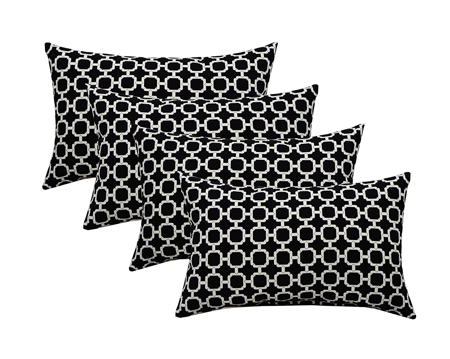 Resort Spa Home Decor Set of 4 Indoor Outdoor Decorative Lumbar Rectangle Pillows – Black and White Geometric Hockley