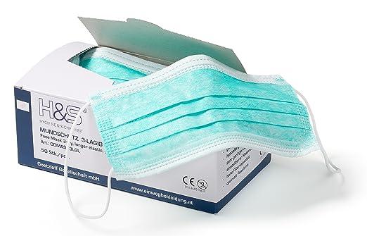 29 opinioni per Mascherine chirurgiche ISC H&S, 3 strati con lacci, scatola da 50 pezzi (verde)