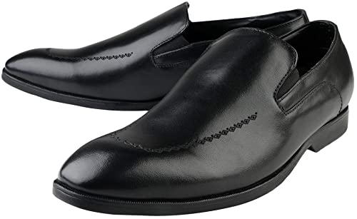 e23e67fe2851 Kanprom Men s Black Genuine Leather Formal Slip On Shoes  Buy Online at Low  Prices in India - Amazon.in