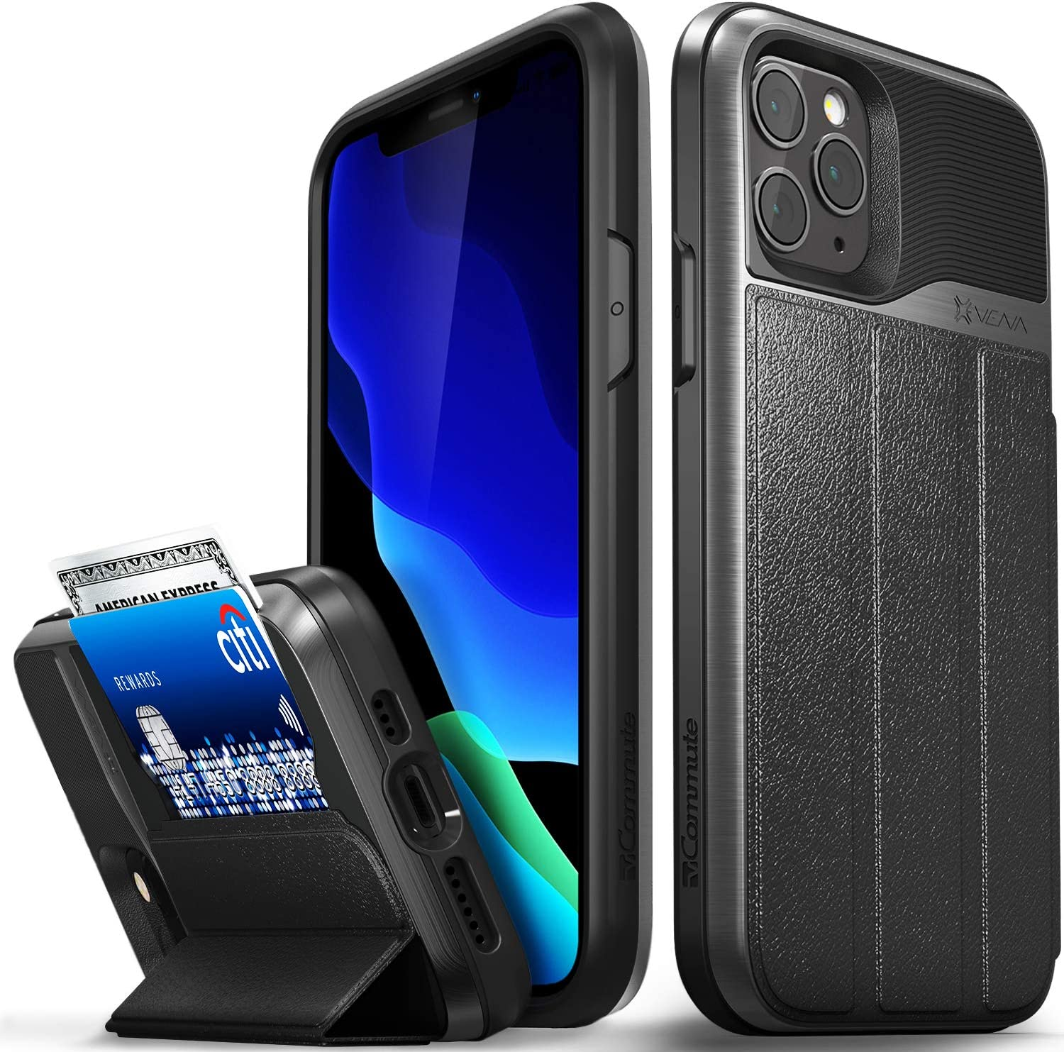 """Vena vCommute Wallet Case Compatible with Apple iPhone 11 Pro (5.8""""-inch), (Military Grade Drop Protection) Flip Leather Cover Card Slot Holder with Kickstand - Space Gray"""