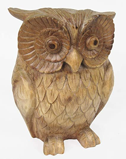 Once a tree wooden owl cm sculpture hand carved suar wood