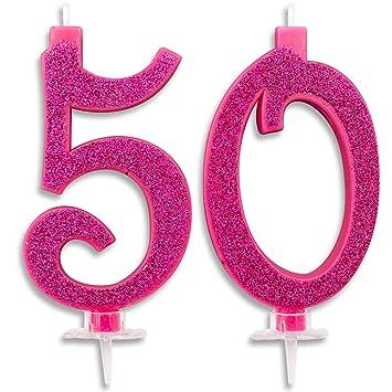 Velas Maxi de 50 años para Tarta de cumpleaños de 50 años, decoración de Velas de cumpleaños, Tarta de 50, Fiesta temática, Altura 13 cm, Fucsia ...