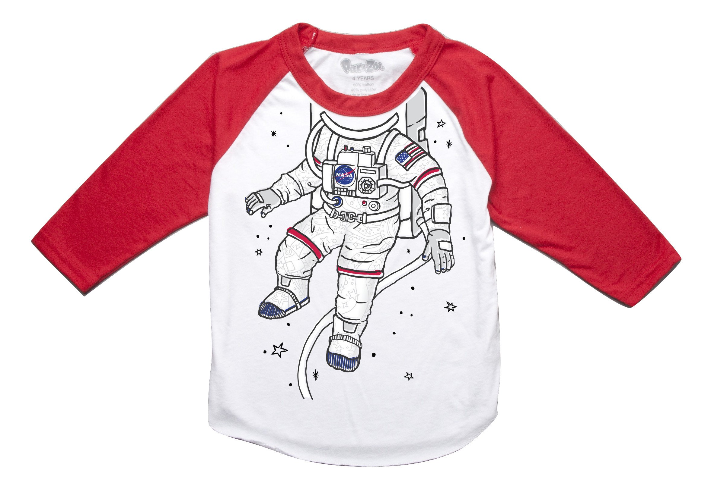 Peek-A-Zoo Toddler Become an Animal 3/4 Sleeve Raglan - Astronaut Red - 2T