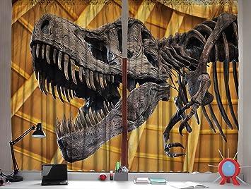 Curtains Ideas boys dinosaur curtains : Amazon.com: Dinosaur Curtains by Ambesonne, Tyrannosaurus Rex T ...