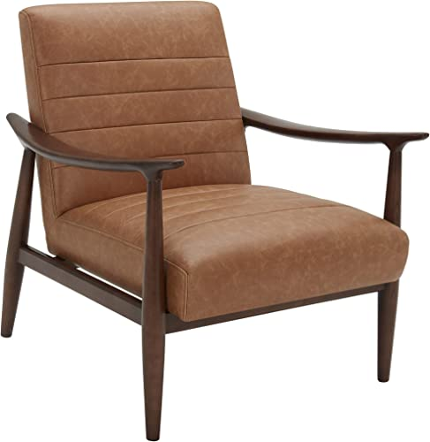 Amazon Brand Rivet Spear Mid-Century Modern Channel Tufted Leather Accent Chair
