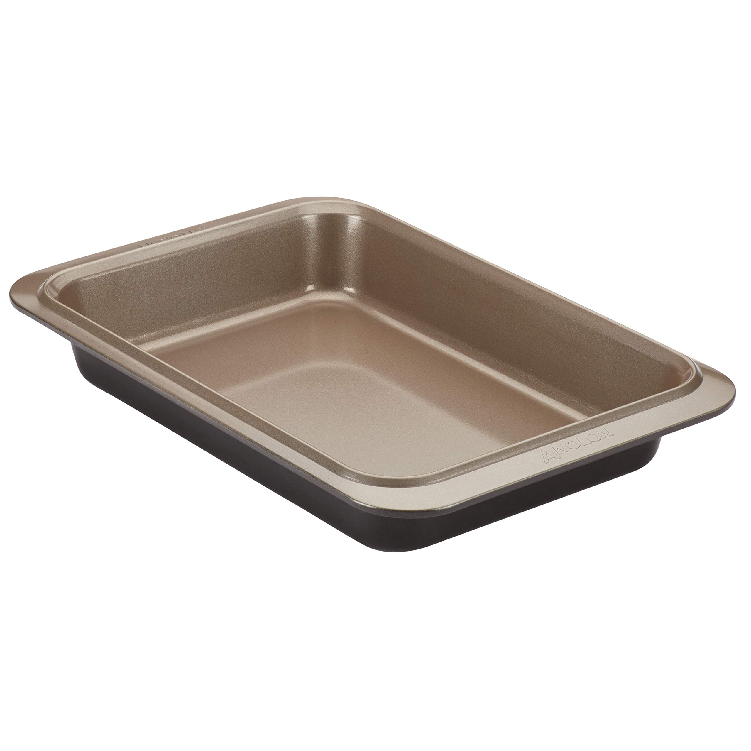 Anolon Eminence Nonstick Bakeware 9-Inch x 13-Inch Rectangular Cake Pan, Onyx with Umber Interior