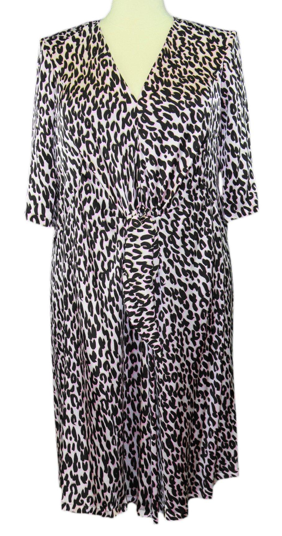 MARINA RINALDI by MaxMara Nixon Pink Animal Print V-Neck Dress 20W / 29