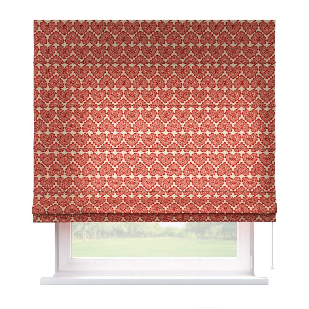 Dekoria Raffrollo Capri ohne Bohren Blickdicht Faltvorhang Raffgardine Wohnzimmer Schlafzimmer Kinderzimmer 100 × 170 cm rot-beige Raffrollos auf Maß maßanfertigung möglich