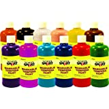 School Smart 1439213 Non-Toxic Washable Tempera Paint Set, 1-Pint Plastic Bottle, Assorted Color (Pack of 12)