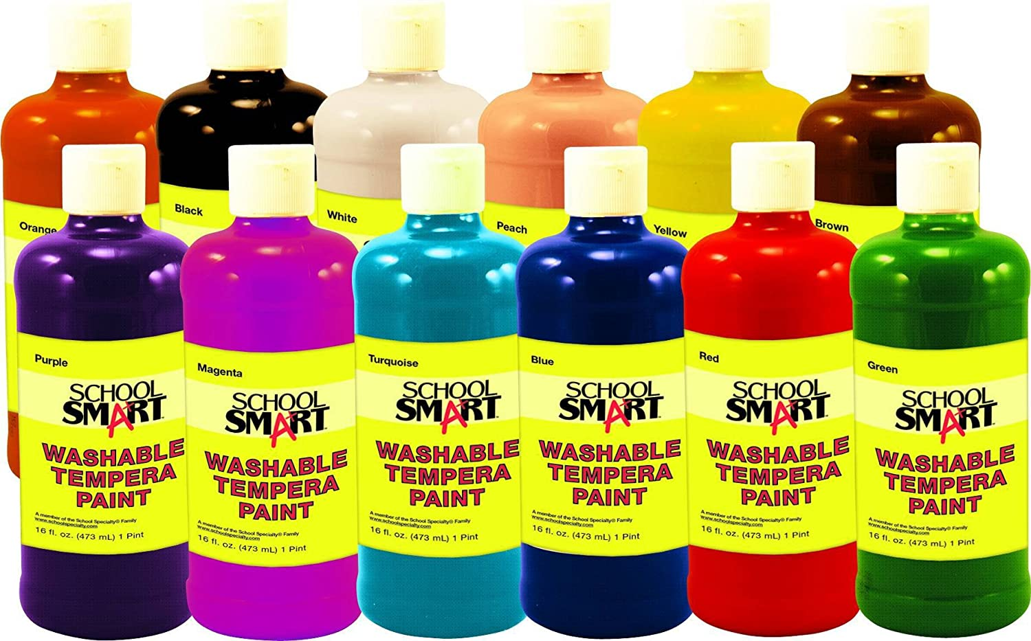 School Smart 1439213 Non-Toxic Washable Tempera Paint Set, 1-Pint Plastic Bottle, Assorted Color