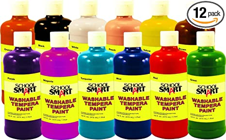 amazon com school smart washable tempera paint 1 pint assorted