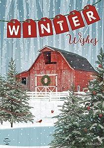 "Briarwood Lane Winter Barn House Flag Snowy Scene 28"" x 40"""