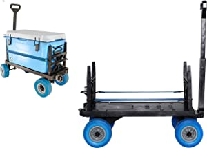 Cooler Cart with on Wheels Ice Chest Box Carrier Wagon Igloo Yeti Coleman Pelican Grizzly Hauler (Blue Wheels)