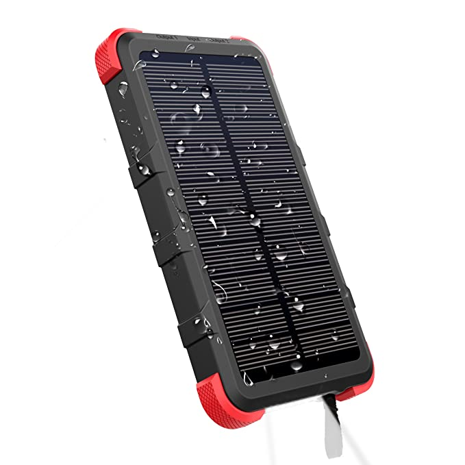 designer fashion 872c5 a2427 OUTXE 10000mAh Rugged Power Bank with Flashlight IP67 Waterproof Solar  Portable Charger Outdoor Dual USB