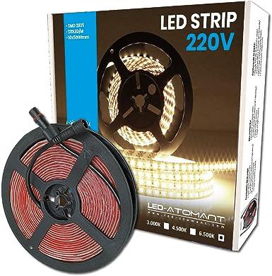 Imagen deLed Atomant Rollo de 5 metros de Tira de Luz LED Directa a 220v con conectores. Color Blanco Frio (6500K). Impermeable. Corte cada 10cm. A++           [Clase de eficiencia energética A++]